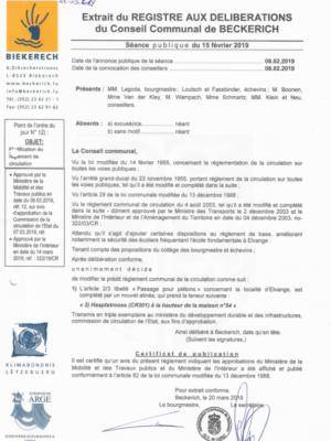 15.02.2019 Modification du règlemet de circulaion art. 2 3