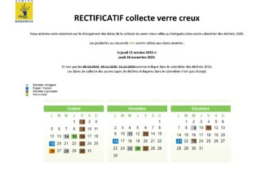 calendrier collectes rectificatif