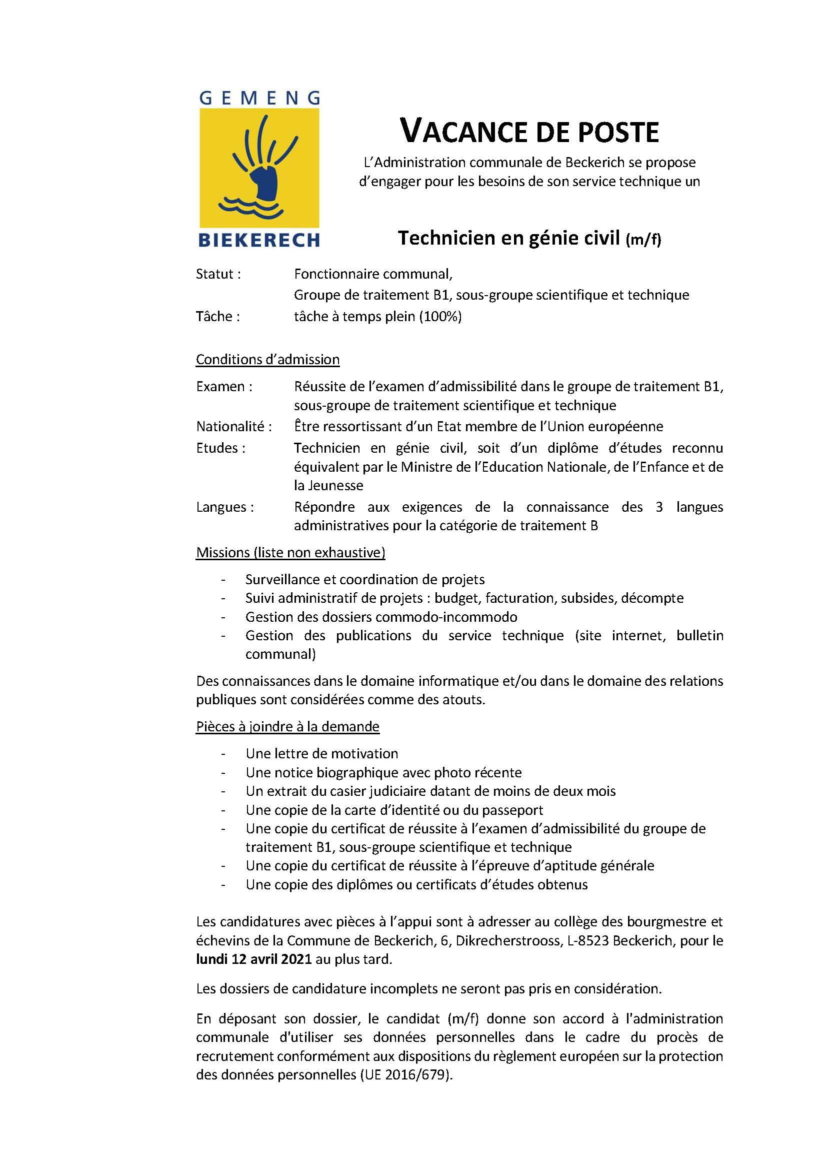 VACANCE DE POSTE Technicien en génie civil