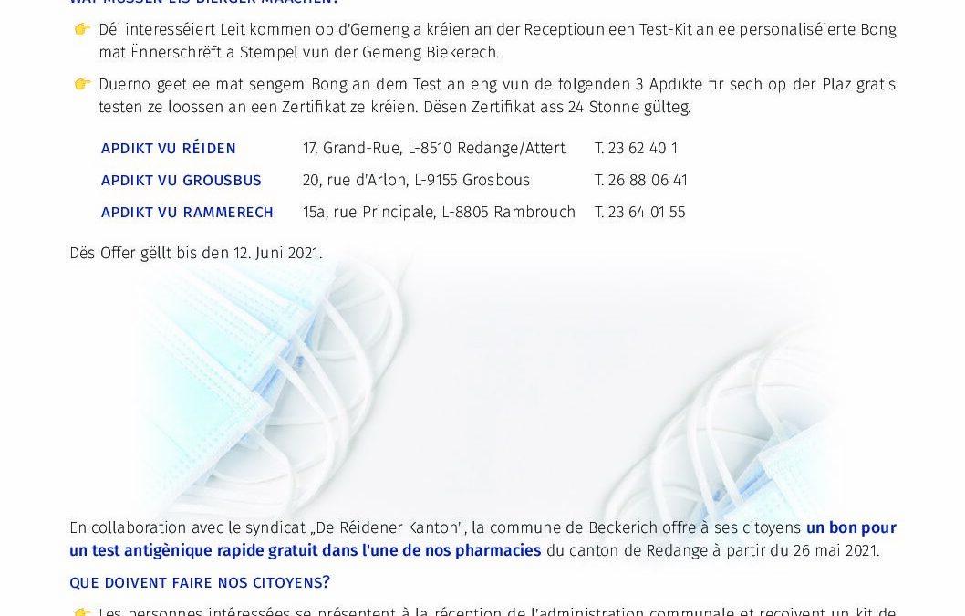 Zertifiéiert Schnelltester ¦ Tests rapides certifiés