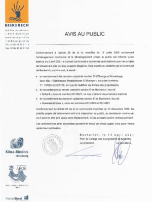 Avis urbanisme_Projets de lotissement accordés par le conseil communal 13-04-2021