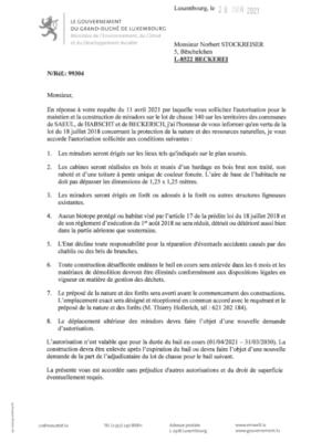 Environnement_Notification de decision pour le dossier 99304 - Miradors sur le lot de chasse 340
