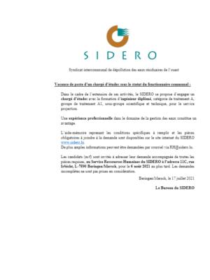 SIDERO_Ingénieur diplômé A1_ServiceProjection