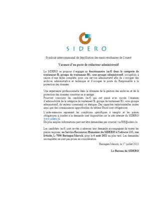 SIDERO_Rédacteur B1 Archiviste_DPO