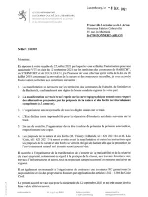 Environnement: Notification de decision pour le dossier 100302 - Randonnée VTT en date du 12 septembre 2021