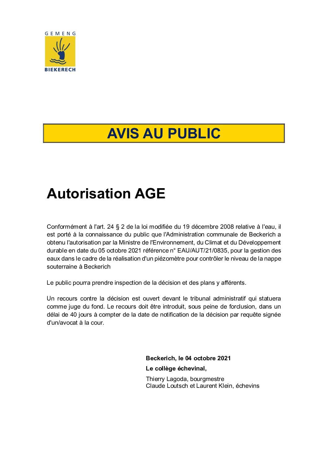Avis_gestion des eaux_Autorisation réalisation piézomètre 04102021